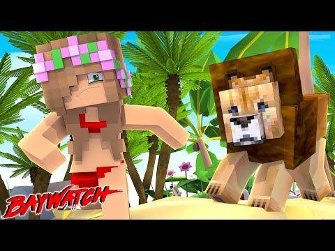 LION ATTACK AT BAYWATCH BEACH! | Minecraft Little Kelly