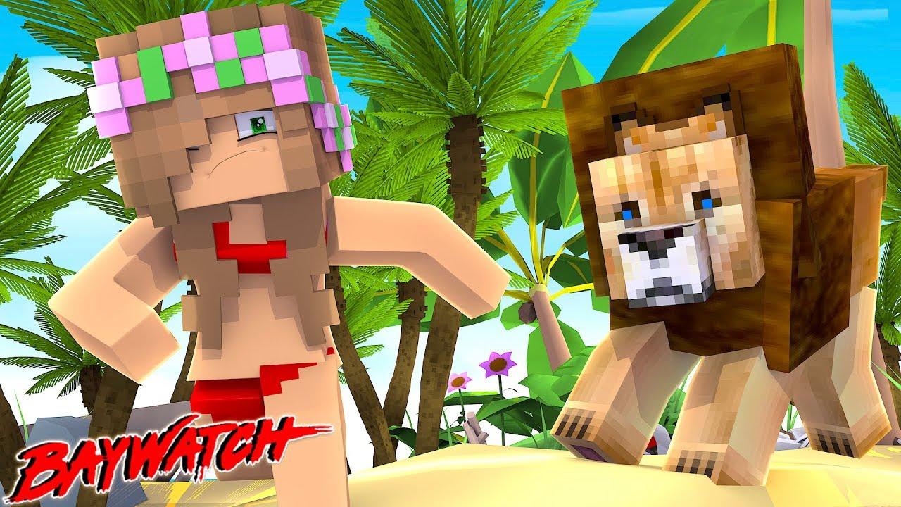 lion-attack-at-baywatch-beach-minecraft-little-kelly