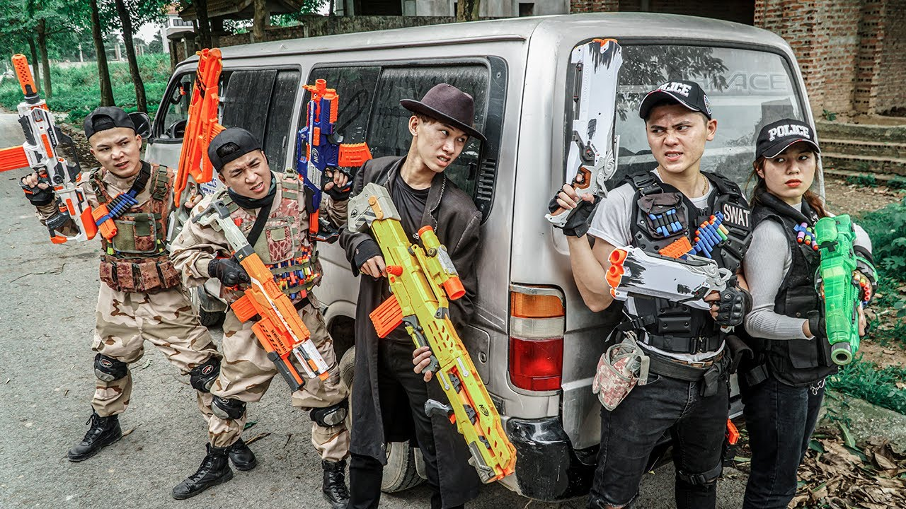 LTT Game Nerf War : Captain Warriors SEAL X Nerf Guns Fight Street Thieves Rocket Crazy