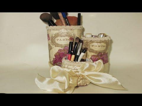 DIY Plastic Bottle Upcyle Decoupage to Makeup organizer