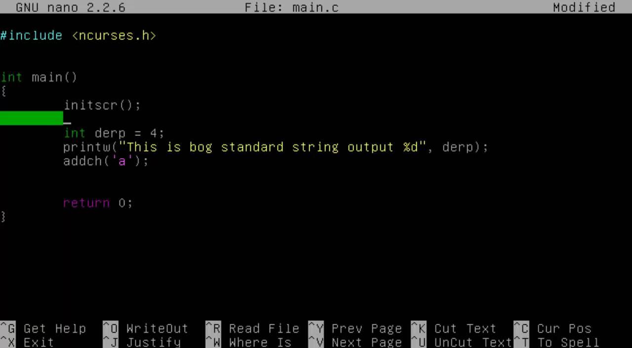 NCurses Tutorial 2 Outputs by Giga Raptor