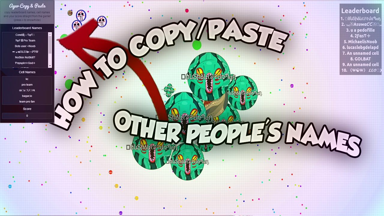 How To Copy And Paste Other Peoples Names In Agario Tutorial