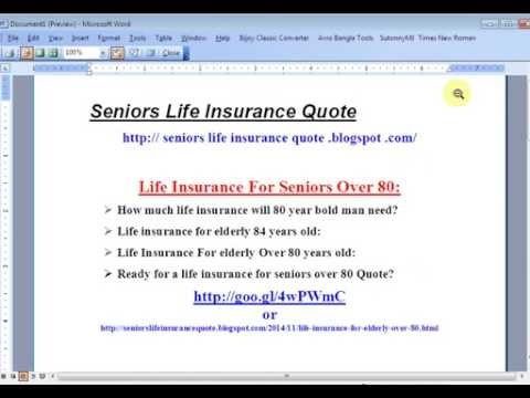 Life Insurance Quotes For Elderly Glamorous Life Insurance For Seniors Over 80 Quotes  Youtube
