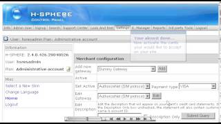 Setting up a merchant gateway in H-Sphere - Reseller Guide - Host Department LLC