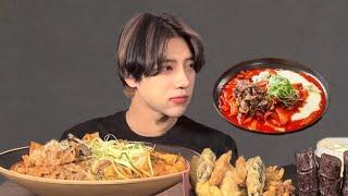 SUB)내사랑 떡볶이먹방 불스떡볶이 차돌떡볶이 먹방 ASMR MUKBANG Spicy  tteokbokki トッポッキ Korean Eating Show