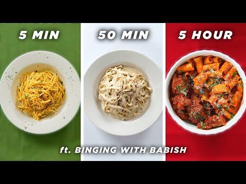 5 Min vs. 50 Min vs. 5 Hour Pasta (ft. Binging With Babish) •Tasty
