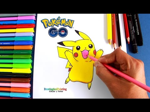 How To Draw Pikachu Pokemon Go Como Dibujar Y Colorear A