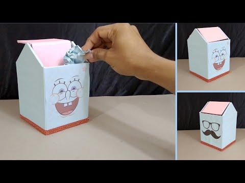 Kerajinan Dari Kardus Cara Mudah Membuat Tempat Sampah Mini Dari Kardus Bekas Youtube