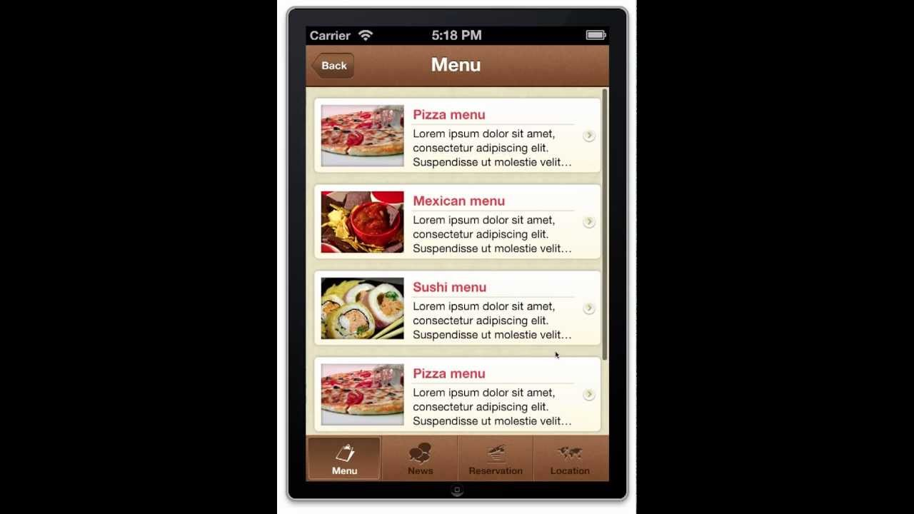 Restaurant App Template for iPhone - iOS 6.0 Source Code for Sale ...