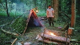 Primitive Shelter Build - Flint Steel fire & Rock Cooking