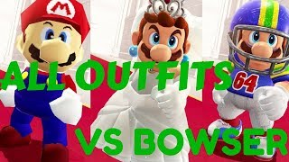 SUPER MARIO ODYSSEY - EVERY MARIO OUTFIT AND BOWSER REACTION ENDING