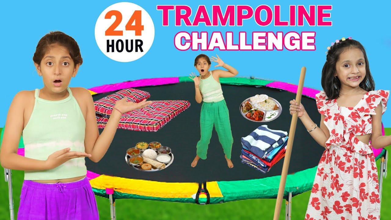 24 Hour OVERNIGHT TRAMPOLINE Challenge | MyMissAnand