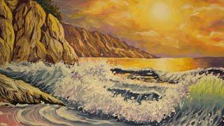 Как нарисовать пейзаж гуашью/Рисуем ПОЭТАПНО море и закат