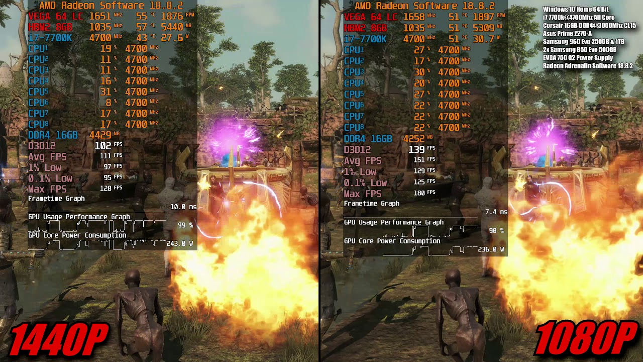 Strange Brigade DX12 1080p & 1440p Ultra Preset In-Game Benchmark | Vega 64  LC 7700k