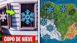 Destruye ADORNOS de COPOS de NIEVE - Desafíos 14 días Fortnite