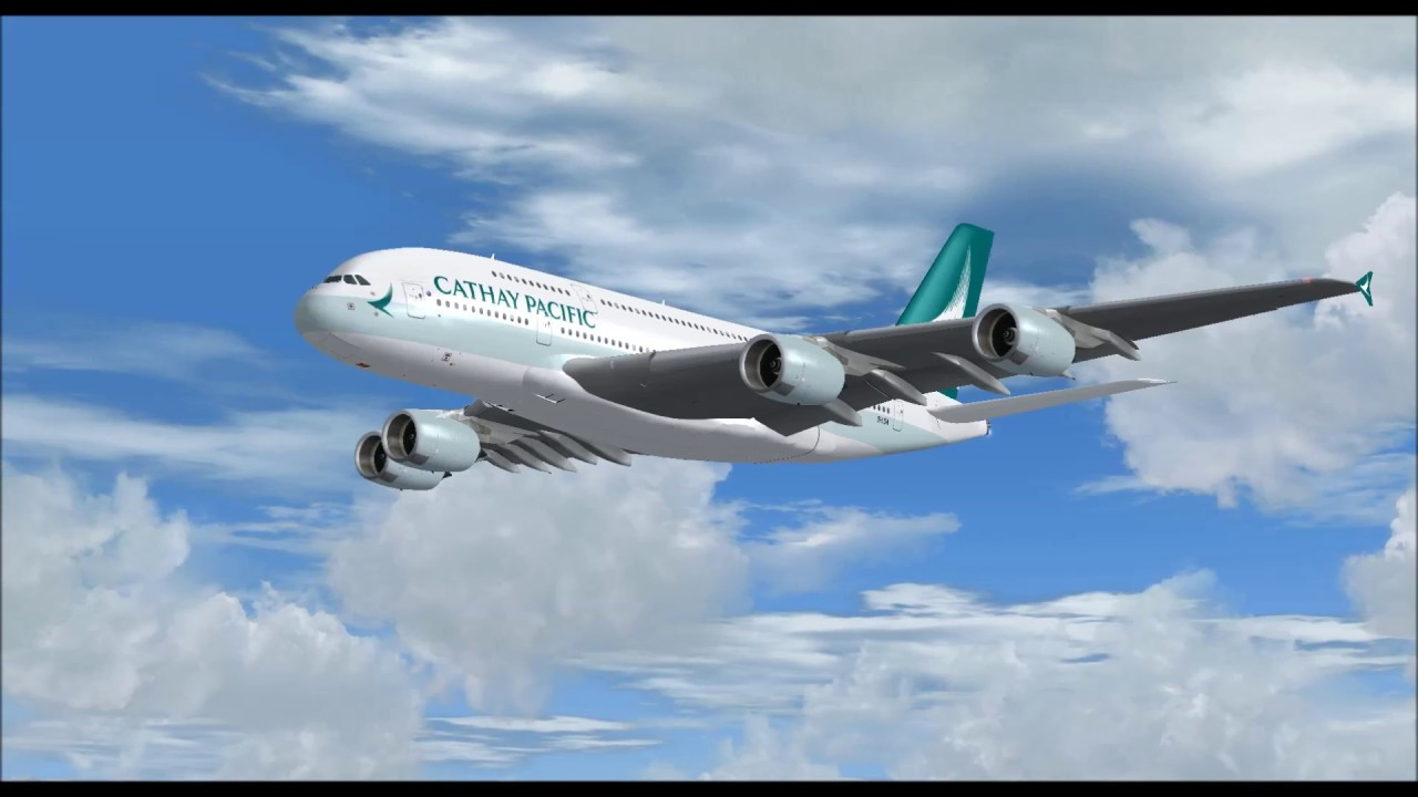Airbus A380 800 Cathay Pacific Airlines Landing At Seattle