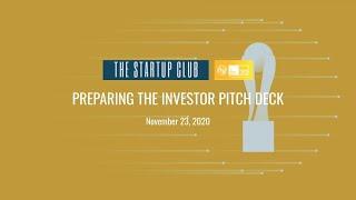 Masterclass: Preparing the investor pitch deck