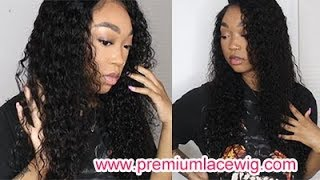 PremiumLaceWig Brazilian Hair Water Wave Glueless Full Lace Wig Review Pre Plucked Hairline
