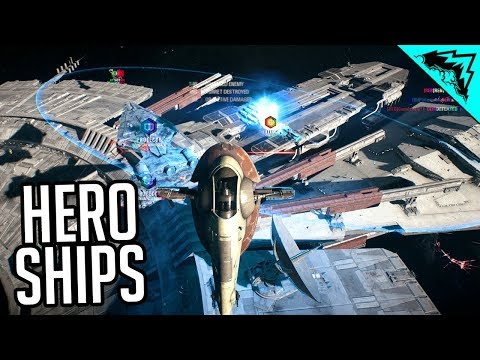 HERO SHIPS - Star Wars Battlefront 2 Gameplay (Slave 1, Scimitar, Black One & Millennium Falcon