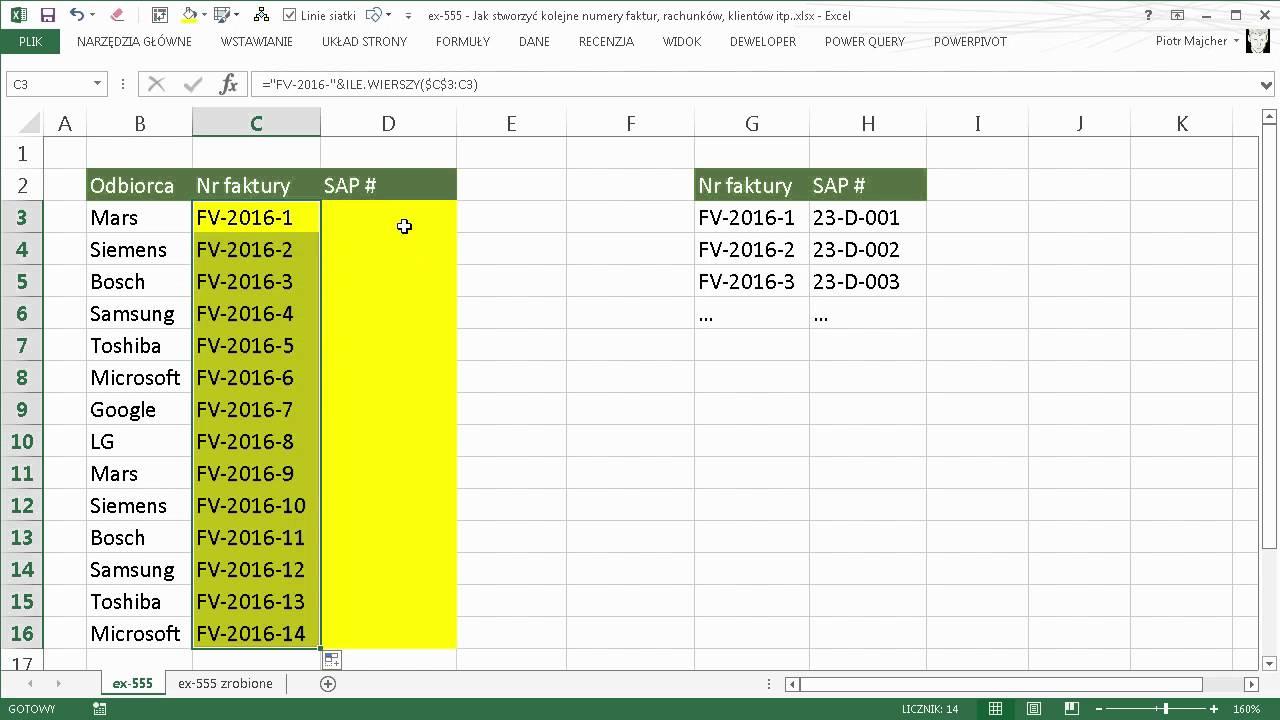 Excel 555 Jak Stworzyć Kolejne Numery Faktur Rachunków Klientów