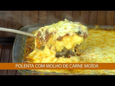 ALMÔNDEGAS E POLENTA COM MOLHO DE CARNE MOÍDA