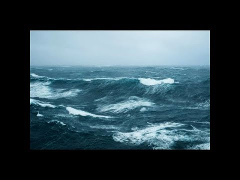Ship In Bad Weather Film & Sound- No Music-Blizzard-Rough Ocean Waves And Thunderstorm Sounds