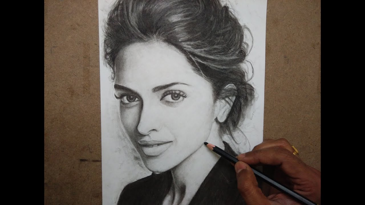 Drawing deepika padukone with charcoal pencils timelapse
