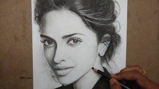 Drawing Deepika Padukone with Charcoal Pencils - Timelapse