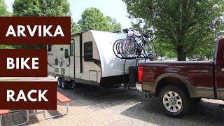 carry four bikes on a travel trailer arvika 7004 tongue mount 4 bike rv rack