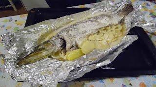 Щука в духовке с картофелем в фольге