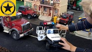 BRUDER Toys Stolen MACK TRUCK POLICE RAID Road Block Bad Guys Busted!