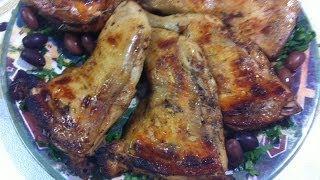 طريقة عمل فراخ مشويه بالفرن  Oven Barbecued Chicken Legs