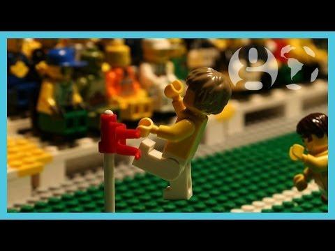 David Luiz free kick & Neymar injured | Brazil vs Colombia World Cup 2014 | Brick-by-brick