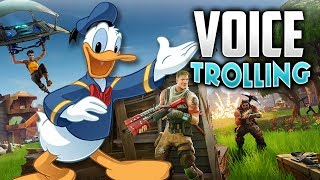 DONALD DUCK VOICE TROLLING ON FORTNITE!!