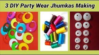 3 DIY party wear Chandbali jhumkas making at home