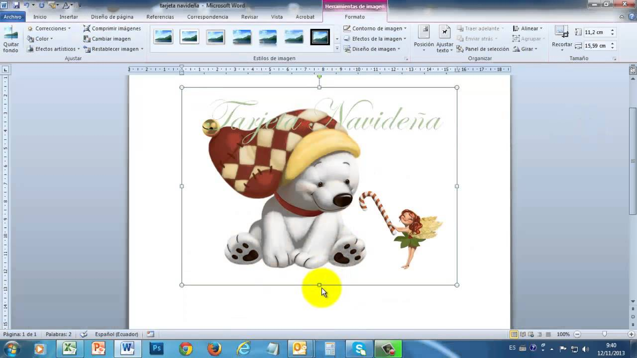 Tarjeta navideña en Word 2010 PART1 - YouTube
