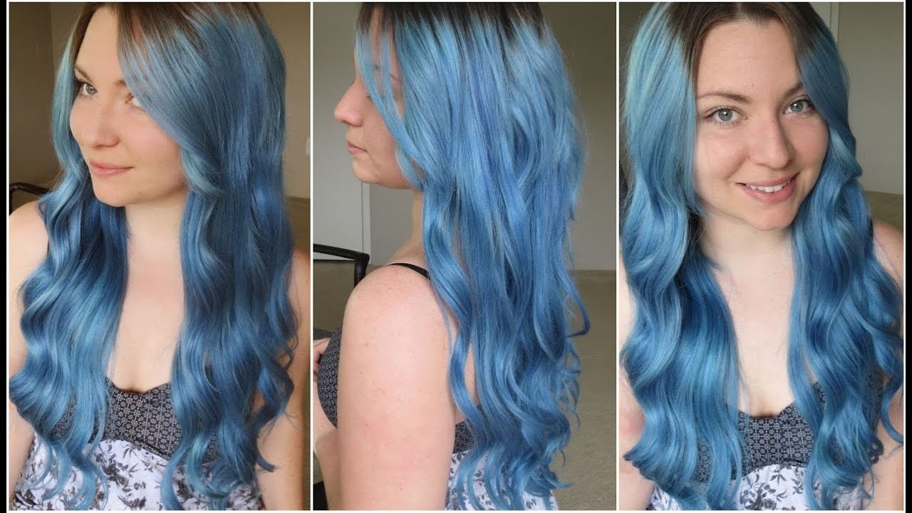 how i dyed my hair pale blue ion color brilliance shark blue azure youtube