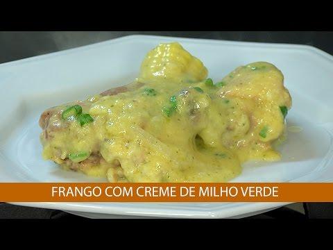 FRANGO COM CREME DE MILHO VERDE E CANELONE DE RICOTA