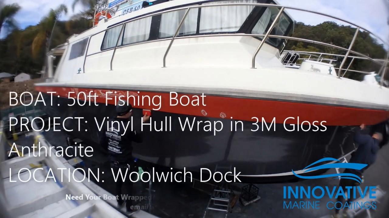 Vinyl Hull Boat Wrap - 50ft Fishing Boat
