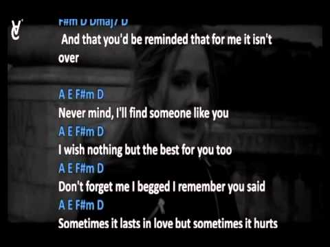 CHORDS AND LYRICS: ADELE - SOMEONE LIKE YOU - YouTube