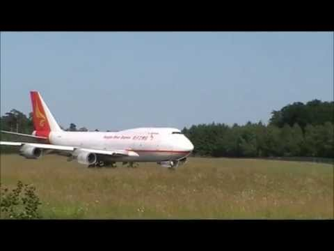 Yangtze River Express Boeing 747-400F take off at Luxembourg Airport.