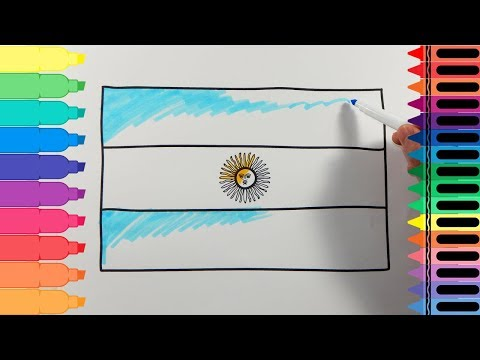 How to Draw Argentina Flag - Drawing the Argentinian Flag -