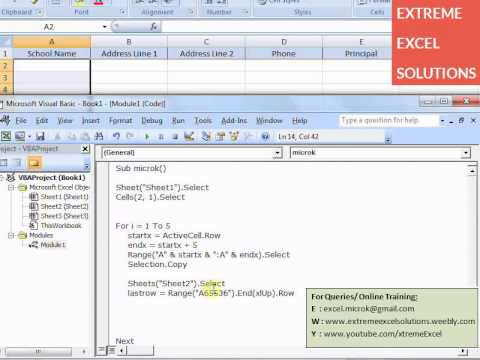 Excel VBA tutorial for Data Extraction