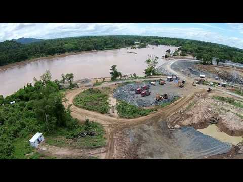 Drone flight over Don Sahong dam project