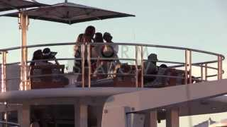 Chris Brown brings Sexy Girls from the beach to his Yacht in Saint Tropez