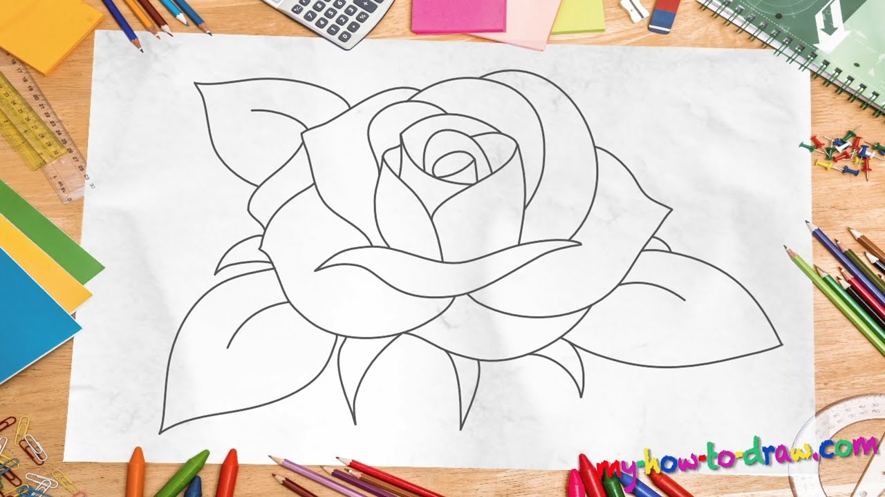 How To Draw A Rose  *new 2015* Easy Stepbystep Drawing Lessons For Kids   Youtube