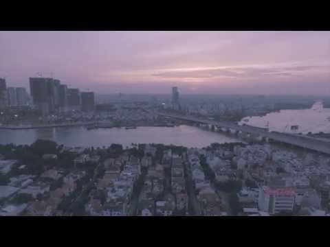 Beautiful Sunset over Saigon Bridge in 4K - DJI Phantom 4