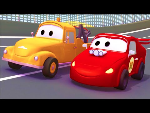 Tom The Tow Truck and the Racing Car in Car CityTrucks cartoon for