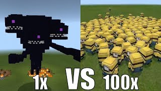 What Happens When 100 Minions Fight Against 1 Wither Storm in Minecraft Pocket Edition?