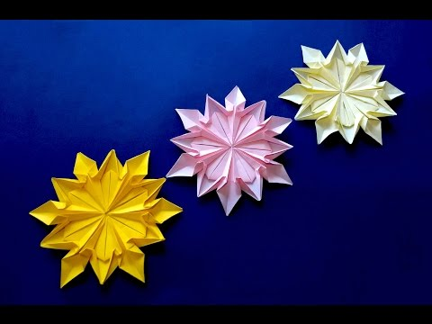 Origami 12 petals flower. Origami snowflake (Dennis Walker). Great ideas for Valentine's.
